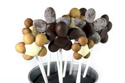 Maceta con flores de chocolate